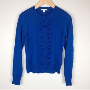 New York and Company Blue Ruffle Cardigan Size M
